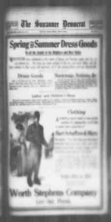 Suwannee Democrat Gazetesi 23 Nisan 1909 kapağı