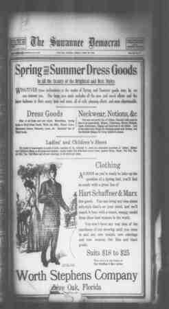 Suwannee Democrat Gazetesi 30 Nisan 1909 kapağı