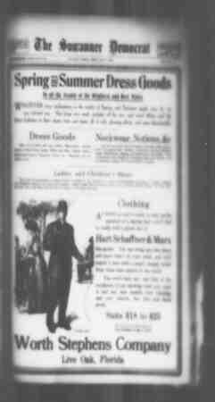 Suwannee Democrat Gazetesi 7 Mayıs 1909 kapağı