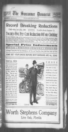 Suwannee Democrat Gazetesi 28 Mayıs 1909 kapağı