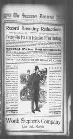 Suwannee Democrat Gazetesi 11 Haziran 1909 kapağı