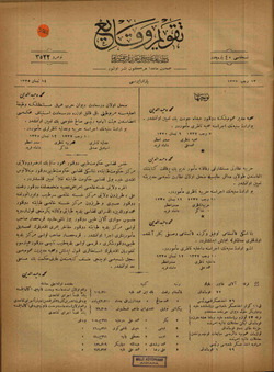 Takvim-i Vekayi Gazetesi 14 Nisan 1919 kapağı