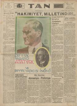 Tan Gazetesi 23 Nisan 1935 kapağı