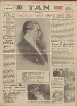 Tan Gazetesi 25 Nisan 1935 kapağı