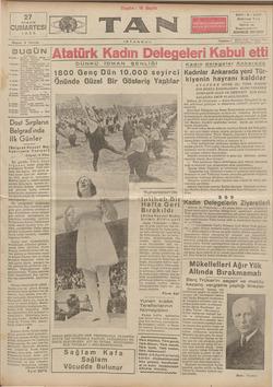 Tan Gazetesi 27 Nisan 1935 kapağı