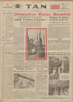 Tan Gazetesi 29 Nisan 1935 kapağı