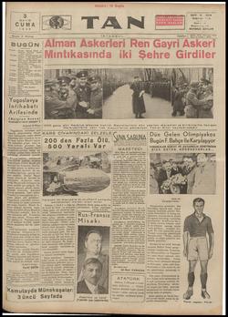 Tan Gazetesi 3 Mayıs 1935 kapağı