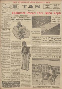 Tan Gazetesi 6 Mayıs 1935 kapağı