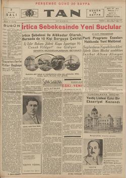 Tan Gazetesi 7 Mayıs 1935 kapağı