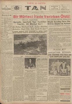 Tan Gazetesi 8 Mayıs 1935 kapağı