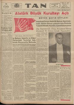 Tan Gazetesi 10 Mayıs 1935 kapağı