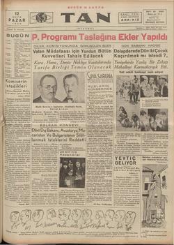 Tan Gazetesi 12 Mayıs 1935 kapağı