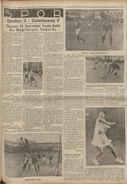 aa 20.3 . 935 Apollon 3 - Galatasaray Takımın ilk Devredeki Yanlış Şekli Bu Mağlübiyeti Doğurdu Dünkü futbol maçında Gala -