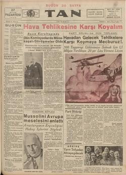 27 MAYIS PAZARTESİ __Suyısı. 5 Kuruş BUGÜN | 2 incide » —Peyami Sala'nın fıkrası — | Orhan Selim'in fıkrası — Şe hir...