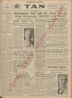 MAYIS CUMA 1935 Sayısı 5 Kuruş Z incide * —Peyami Safa'nın fıkrası — Orhan Selim'in lıkrası — Şe hir haberleri, Ankara...