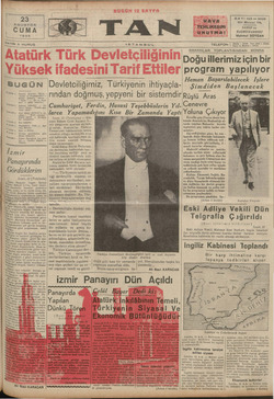 L AGUSTOS CUMA 1935 SAYISI 5 KURUŞ A e e BUGÜN 2 iücide 5 Peyami Sela'nım hir is ve Pr — Şehir Mitcdle : © Ankara Kil