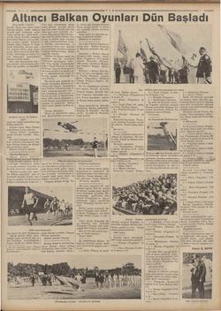 """«9-935 TA """"Altıncı Balkan Oyunları. Dün Başladı. (Baş tarafı 1 incide  Taştılar. Sonra her takım, önde bayrağı olduğu halde"""
