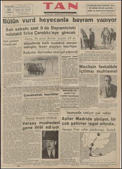 MN ağa TA Gazetecilik. PAZARTESİ 20 TEMMUZ | 1936 | TELEFON : TELGRAF : İKİNCİ Y ün | salı sabahı saat 9 akil fırka Çana müst