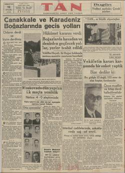 TA CUMARTESİ | 19 EYLOL 1936 İstanbul Ankara caddesi TELEFON : 5 K Canakkale ve Karadeniz | Boğazlarında gecis yolları...