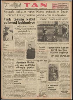 """PAZARTESİ TANESİ Istanbul Ankara"""" çaddeni 8 MART 1937 Genevredaki Heyetimizin Reisi B. Numan Rifat 32000 Kişilik Ordu Ahmet"""