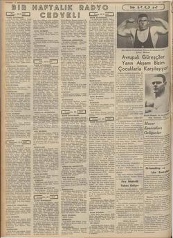 —— 8 TAN BIR HAFTALIK RADYO CEDVELİ | Pazar, 22. 8. 1937 li 57 | HAFIF KONSERLER: 7,10 Berlin kısa dalgası: Pazar konseri.