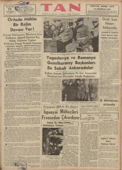 Ortada Mühim Bir Rejim Davası Var! — Siyasi NişfmĞaat İçî'h Kullanan, Şüpheli İşlerden Baç Aldığı Sövlenen Yegâne ü | Dost İran a Nazırı [ Ankarada | es z Atatürk B. Semii'yi Kabul Ederek Uzun