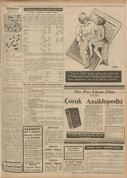 a 16 - 5 - 1938 BULMACA Dünkü Bulmacanın Halledilmiş Şekli 1234567189 1 2 i AİSİHİİİLİMİt e Lİ Mim EİTİEİKİMSAİNİİ Uma *5