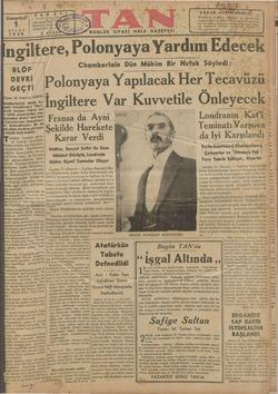 """Cumartesi"""" N TELGRA NİSAN DÖRDÜNCÜ Yİ. 1939 5 KURU BLÖF DEVRİ GEÇTİ Yazan: M. Zekeriya SERTEL amberlain'in dünkü be matı"""