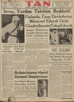 """lsveç, FKardım ialebımi KREedOCLLÜ : """" Finlanda, Garp Devletlerine Müracaat Ederek Ordu 17 .i e rym J YA 7 #N ce"""