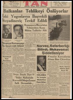 Dalkalnlar, LeEeNliiKEYİ Unıuyorıar ski Yugoslavya Başvekili B toyadınovıç Tevkıf Edıld '