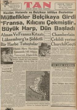 ER c 4 Keliron 24310, ir MAYIS ALTINCI YIL — No. 1940 s KURUŞ İstanbul, Ankara Caddesi 103 göze TAN, İSTANBUL EVİ GÜNLÜK