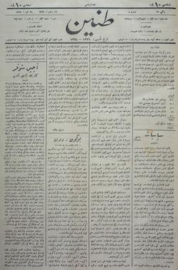 Tanin Gazetesi 26 Temmuz 1908 kapağı