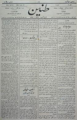 Tanin Gazetesi 27 Temmuz 1908 kapağı
