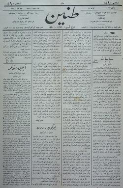 Tanin Gazetesi 29 Temmuz 1908 kapağı