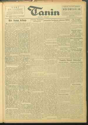 Tanin Gazetesi 20 Eylül 1943 kapağı