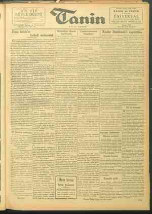 Tanin Gazetesi 26 Eylül 1943 kapağı