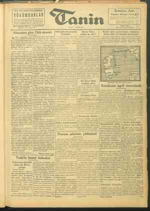 Tanin Gazetesi 28 Eylül 1943 kapağı