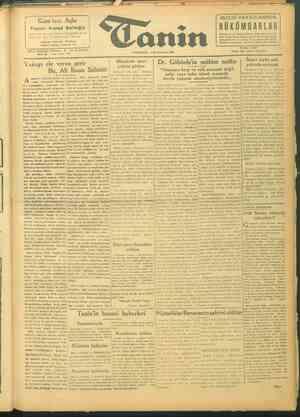 Tanin Gazetesi 4 Ekim 1943 kapağı