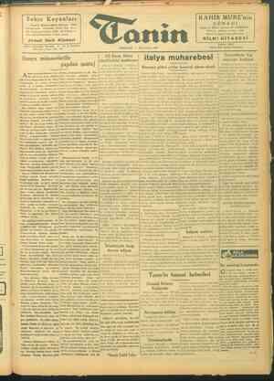 Tanin Gazetesi 7 Ekim 1943 kapağı