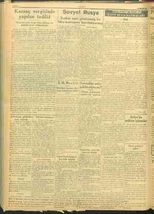 HAYPA :2 TANİN | > Sel z Kazanç vergisinde | Sovyet Rusya KİS TAYI | | yapılan tadilât Tarihte misli görülmemiş bir — 256 —