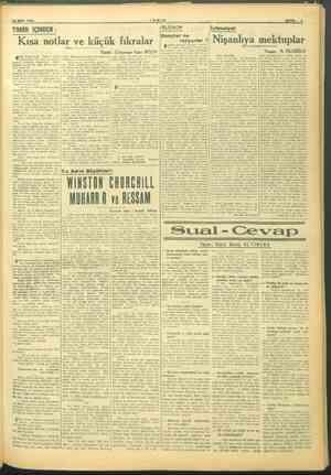 Rİ 25 EKİM 1945 TARİH İÇİNDEN TANİN Kısa notlar ve küçük fıkralar yürü. Ze — e an ikinci sadare! da az Dn malları zade...