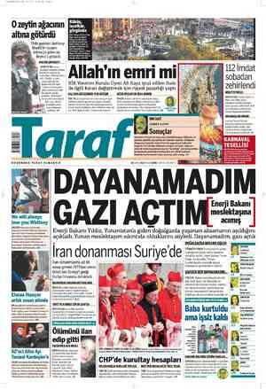Taraf Gazetesi 19 Şubat 2012 kapağı