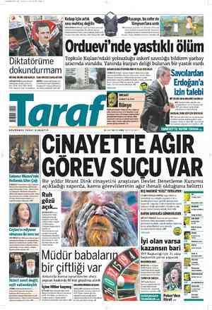Taraf Gazetesi 21 Şubat 2012 kapağı
