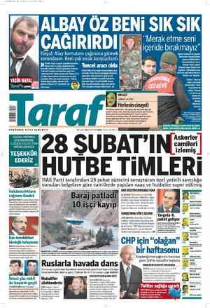 Taraf Gazetesi 25 Şubat 2012 kapağı