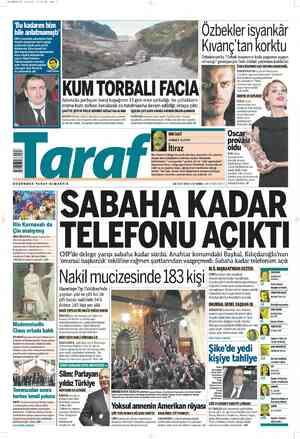 Taraf Gazetesi 26 Şubat 2012 kapağı