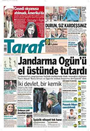 Taraf Gazetesi 2 Mart 2012 kapağı