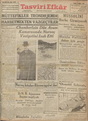 Tasviri Efkar Gazetesi 3 Mayıs 1940 kapağı