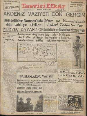 Tasviri Efkar Gazetesi 4 Mayıs 1940 kapağı