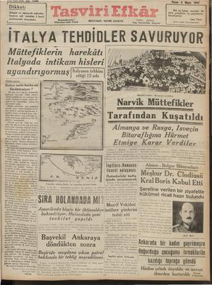 Tasviri Efkar Gazetesi 5 Mayıs 1940 kapağı
