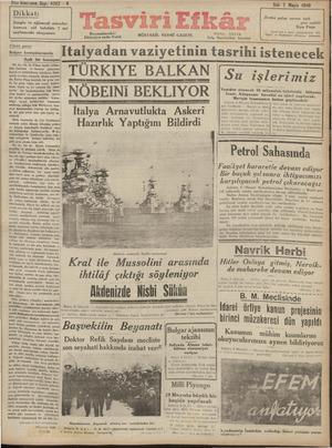 Tasviri Efkar Gazetesi 7 Mayıs 1940 kapağı